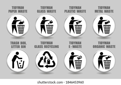 Vector set of tidy man icons with plastic, glass, paper, metal, organic, battery waste management signs. Pictograms of different trash, litter, rubbish recycling symbols isolated on white