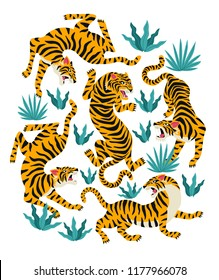 Vector set of tigers and tropical leaves. Trendy illustration.