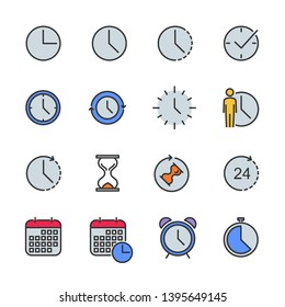 Vector set of time color line icons.