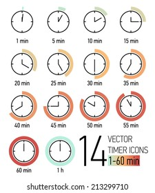 Vector set of timer icons with color blend from light turquoise to weathered red time scale | Different time interval icons | Fourteen clock faces with minutes ticking