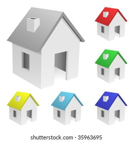 Vector set of tiny houses with varicolored roofs isolated on white background .