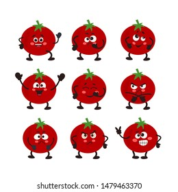 Vector Set of tomato character. Different emotions..  Vector illustration for your design, nursery decor, prints, childish background, T-shirt. Humanized funny pencils smiling, winking, giving okay