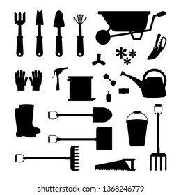 Vector set of tools for gardening. Gardening collection. Icon silhouette