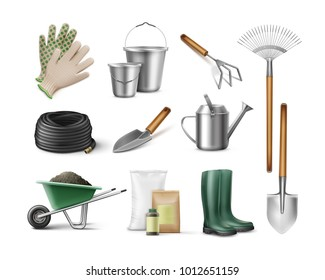 Vector set of tools for gardening and horticulture