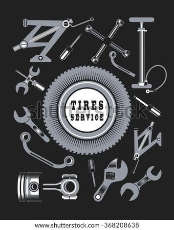 Vector Set Tools Spare Parts Car Stock Vector Royalty Free