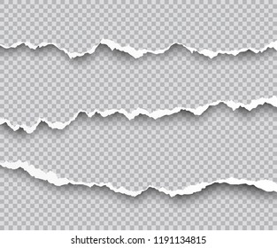 Vector set of torn paper edges with shadows isolated on transparent background