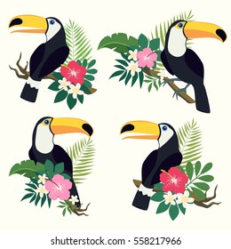 Vector set of toucan birds on tropical branches with leaves and flowers.