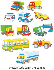 Vector set of toy cars, trucks and buses