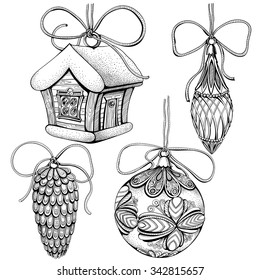 Vector set of toys for Christmas tree. Hand drawn by ink
