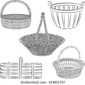Vector set of traditional baskets in line art  mode