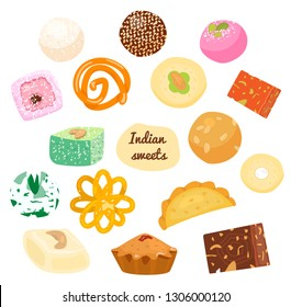 Vector set of traditional Indian sweets. Laddu, gujiya, sandesh, gulab jamun, jalebi, rasgulla and others.