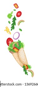 Vector set traditional mexican food Burrito. On a transparent background
