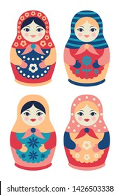 Vector set of traditional Russian wooden dolls in flat style. Collection of colorful nesting cute matryoshkas