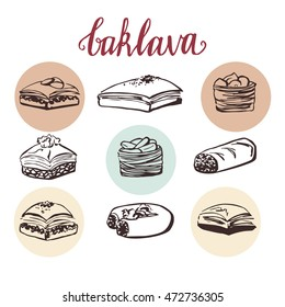 Vector set of traditional turkish dessert baklava. Collection of hand drawn elements isolated on white background.