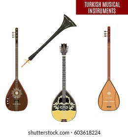 Vector set of traditional turkish musical instruments isolated on white background. Baglama, zurna, electric baglama and bouzouki in flat style.