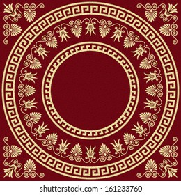 Vector set Traditional vintage golden square and round Greek ornament (Meander) and floral pattern on a red background