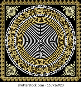 Vector set Traditional vintage golden square and round Greek ornament (Meander) and floral pattern on a black background
