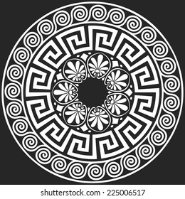 Vector set Traditional vintage white round Greek ornament (Meander) and floral pattern on a black background
