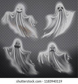 Vector set of translucent ghosts - happy, sad or angry, smiling phantom silhouettes isolated on transparent background. Halloween spooky monster, ragged scary spirit or poltergeist flying in night.