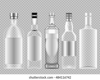 Vector set of transparent glass vodka alcohol bottle with caps for wine mockup ready for your design