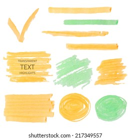Vector set of transparent highlighter marks, orange and green isolated on white