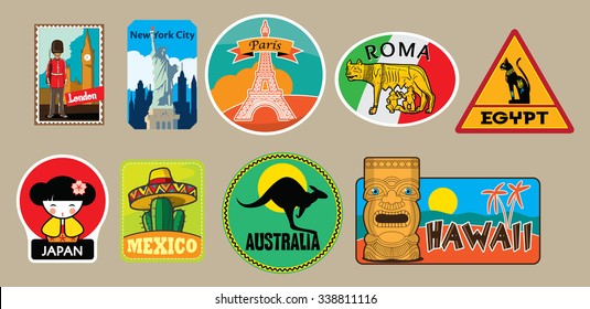 Vector set of travel stickers