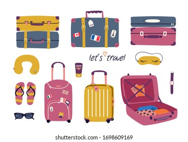 Vector set with travel stuff: luggage bags, suitcases, sunglasses, cosmetics, clothes. Trendy colorful vacation design elements in cartoon style isolated on white