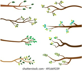 Vector set of tree branches with green leaves.