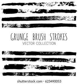 Vector set of trendy black brush strokes or backgrounds. Artistic lines grunge collection. Set of black grungy hand painted brush strokes isolated on white. Abstract ink texture, design elements.