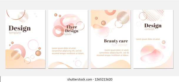Vector set of trendy fluid and airy design templates. Flyers, posters, banners, reports concept with pastel pink liquid shapes and circles. Useable for beauty salon, beauty care products advertising