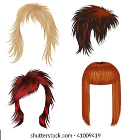 """Vector set of trendy hair styling for woman (from my big """"Hair styling series"""")"""