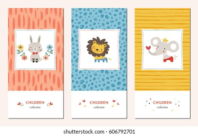 Vector set of trendy hand drawn patterns and kid's design elements with bunny, lion and elephant. Good for children's cloths, package, surface textures, books covers, greeting cards and invitations.