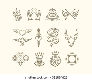 Vector set of trendy linear hipster icons and symbols - mono line tattoo graphics and design elements