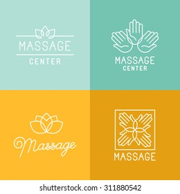Vector set of trendy linear icons and logo design elements related to massage centers and relax - mono line signs and concepts