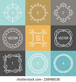 Vector set of trendy logo design elements in mono line style - hipster frames and backgrounds