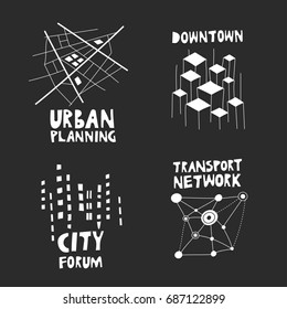 Vector set of  trendy logos on the theme of urban planning, city forum, communities, architecture, real estate. White hand-drawn structures with lettering on black background.