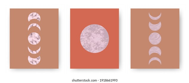 Vector set with trendy set of printable cards with boho mid century stone and marble textured shapes of moon, planets. Abstract contemporary aesthetic backgrounds with geometric elements