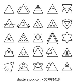 Vector set of Triangle experimental icons with different shape and extreme usability. Great for UI/UX wireframe experiments.