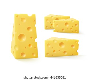 Vector Set of Triangular Pieces Swiss Cheese Close up Isolated on White Background