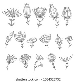 Vector set of tribal boho ornamental flowers. Can be used as design element, decoration.