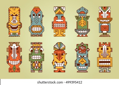 Vector Set of Tribal Polynesian Tiki Masks. Hand Drawn Doodle Hawaiian Totem Idol Carved Masks statue. Religious or Ethnic design elements. Ritual symbols.