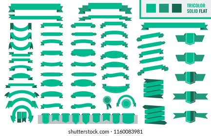 Vector set of tricolor, flat, long and short ribbon banners. Trendy Green color.