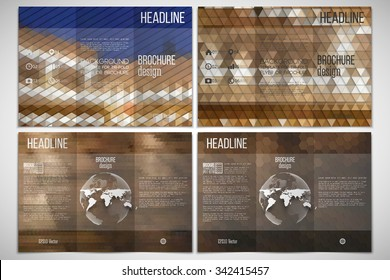 Vector set of tri-fold brochure design template on both sides with world globe element. Night city landscape. Abstract multicolored backgrounds. Geometrical patterns. Triangular and hexagonal style.