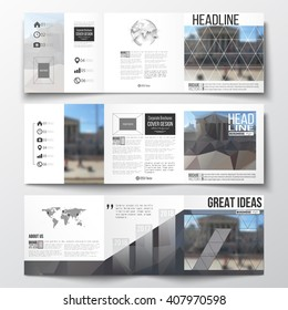 Vector set of tri-fold brochures, square design brochure templates with element of world map and globe. Abstract background, blurred image, urban landscape, modern stylish vector brochure.