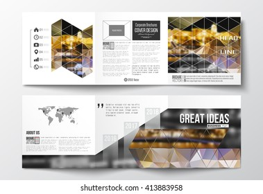 Vector set of tri-fold brochures, square design templates with element of world map. Colorful polygonal background, blurred image, night city landscape, modern stylish triangular vector texture.