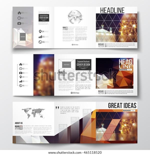 Vector Set Trifold Brochures Square Design Stock Vector