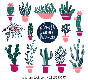 Vector set of tropical house  plants in scandinavian style. Isolated elements on the white background.