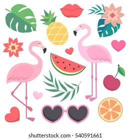 Vector set of tropical illustrations. Palm leaves, flamingos, sunglasses, watermelon, hearts, lips.