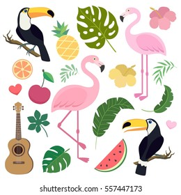 Vector set of tropical palm, banana leaf, flamingo, toucan birds, ukulele guitar, pineapple, watermelon.