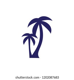vector set of tropical palm and tree silhouettes. EPS 10